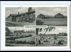 XX11422-2083/ Halstenbek Bahnhof, Schule, Sportplatz AK ca.1955