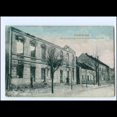 XX13478/ Friedrichshof Zersört 1. Weltkrieg 1914 AK + Bahnpost Allenstein - Lyck