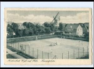 XX11531/ Wyk auf Föhr Tennisplatz Windmühle 1950 AK