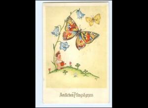 XX14697/ Pfingsten Schmetterlinge Käfer Ak 1953