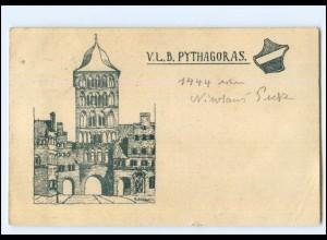XX14696/ Lübeck V.L.B. Pythagaoras Studentika AK 1909