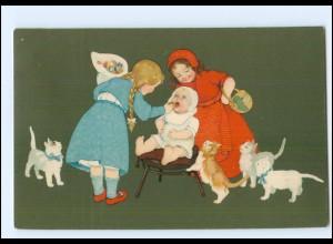 XX11890/ Meissner & Buch Litho Ak Kinder Baby Katzen 1912 Lustige Gesellschaft