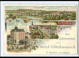 XX11981/ Gruß aus Bergedorf Bahnhofs-Hotel, Neujahr Litho AK ca.1900