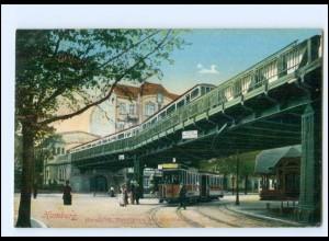 XX13982/ Hamburg Barmbeck Marktplatz Straßenbahn Hochbahn AK 1912
