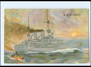 XX12539/ S.M.S. Wettin Kriegsschiff Marine AK 1906