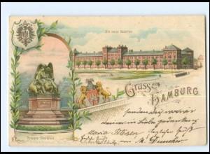 XX13077/ Gruß aus Hamburg Die neue Kaserne Litho AK 1898