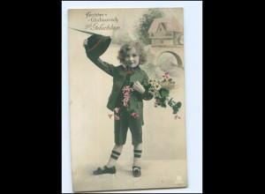Y17941/ Geburtstag Junge mit Blumen Foto AK 1912