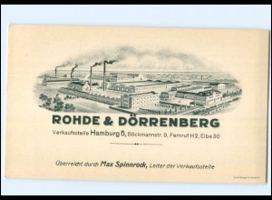 Y17962/ Rohde & Dörrenberg Düsseldorf Vertreterkarte ca.1910