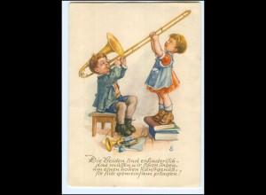 Y17975/ Kinder Junge mit Trompete AK 1956