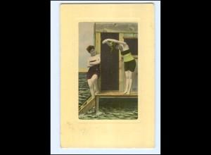 Y18014/ Badeleben zwei junge Frauen AK 1911