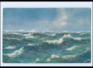 Y18068/ What are the wild Waves saying? Wellen Meer ca.1912