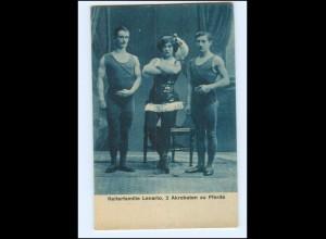Y18100/ Reiterfamilie Lenarto, 2 Akrobaten zu Pferde Variete Zirkus AK