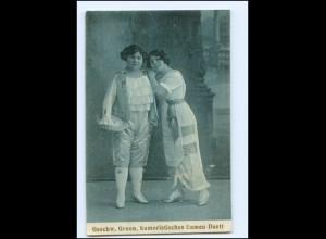 Y18095/ Geschwister Groon humor. Damen-Duett Vareite AK 1915