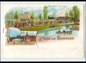 Y18155/ Gruß aus Hamburg Eisenbahn Ferdinand-Thor Litho AK ca.1900
