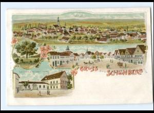 V1008/ Gruß aus Schönberg Oberlausitz Litho AK Sulikov Schlesien ca.1900