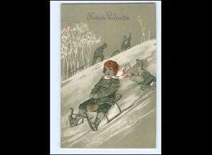 V988/ Weihnachten Rodeln Schlitten Litho Prägedruck AK ca.1900