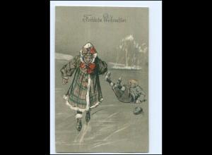 V986/ Weihnachten Eislaufen Litho Prägedruck AK ca.1900
