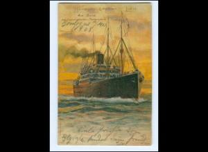 V1157/ Hamburg-Amerika-Linie Dampfer Litho AK + Seepost Hamburg-New York 1908