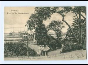 V1295/ Hamburg Blick von der Lombardsbrücke 1908 AK