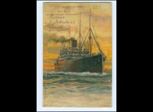 V1156/ Hamburg-Amerika-Linie Dampfer Litho AK + Seepost Hamburg-New York 1908