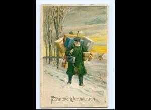 Y18234/ Weihnachten Postbote Briefträger Litho Präge AK 1914