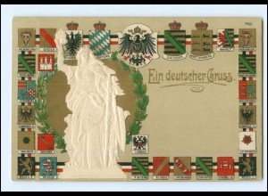 Y18246/ Ein deutscher Gruß Germania Wappen Litho Präge AK 1915