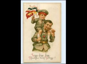 Y18339/ Soldat mit Kind Fahnen Patriotik Litho AK 1916