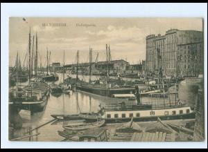 V1194/ Mannheim Hafenpartie Segelschiff 1912 AK