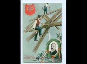 V1068/ Fr. Schrader Voritzender der Zimmerer Zimmermann AK 1910 Berufe
