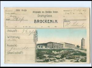 V1071/ Brocken schöne Telegramm AK 1909