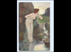"Y18257/ Nymphen ""Belauscht"" Künstler AK ca.1910 Erotik"