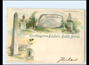 V1138/ Greetings from Historie Battle Fields, Boston Litho AK USA 1899
