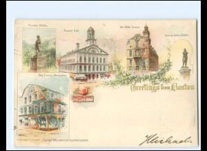 V1136/ Greetings from Boston Litho AK USA1899