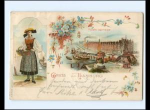 XX12080/ Gruß aus Hamburg Freihafen Vierlanden-Tracht Litho AK 1899