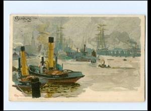 XX12084/ Hamburg Hafen Küsnterl Litho AK Kley 1909