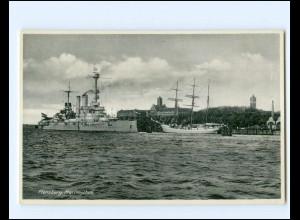 V1169/ Segelschulschiff Niobe + Linienschiff Schleswig-Holstein in Flensburg AK