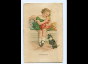 Y18417/ Mädchen mit Puppe und Hund Litho AK 1934