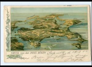 Y18453/ Gruß von der Insel Rügen Litho AK 1905