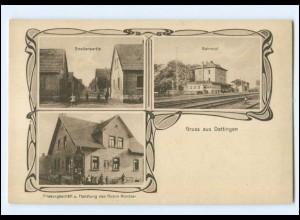 V1484-8757/ Dettingen mit Bahnhof AK ca.1920