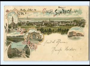 V1445-8340/ Gruß aus Simbach am Inn Litho AK 1897