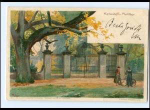 Y18508/ Karlsruhe Parkthor Litho Künstler AK Kley 1902