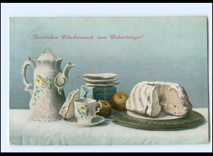 Y18484/ Stilleben Kaffeetisch Kuchen AK 1907