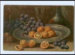 Y18539/ Stilleben Neue Ernte Nüsse Weintrauben Gemälde AK ca.1912
