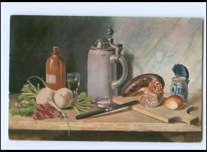 Y18478/ Stilleben Bierkrug Wurst Gemüse Ak 1910