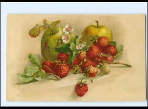 Y18480/ Stilleben Litho Obst Erdbeeren Litho AK 1918