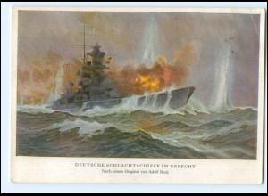 V1497/ Deutsches Schlachtschiff im Gefecht AK 1942
