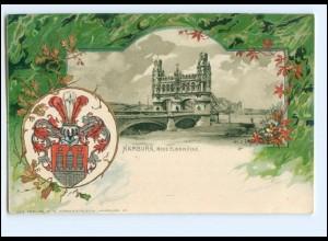 V1373/ Hamburg Elbbrücke Litho Präge Wappen AK ca.1900