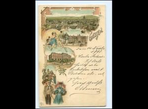 V1374/ Gruß aus Gießen Litho AK 1898 Studenten