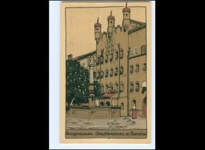 V1380-8263/ Burghausen Stadtbrunnen Steinzeichnung Litho AK ca.1912