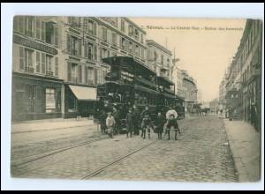 XX12065/ Sevres La Grande Rue Tram Straßenbahn AK ca.1912 Frankreich -923-